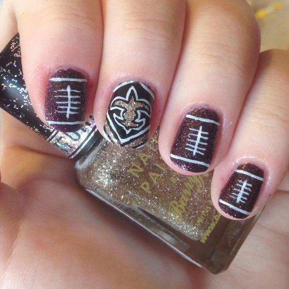 @nnmnails on Instagram: new orleans saints nfl football nail art