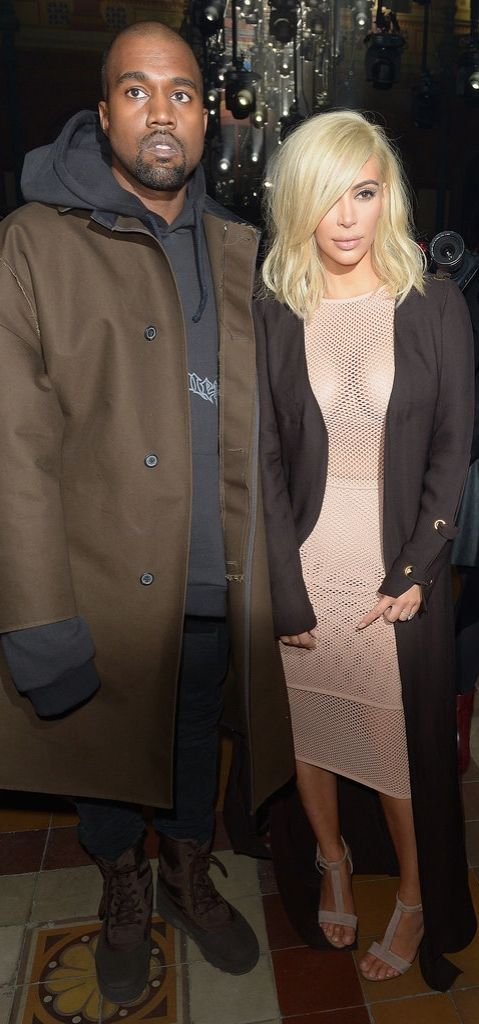 Kim Kardashian and Kanye West at the Lanvin runway show.
