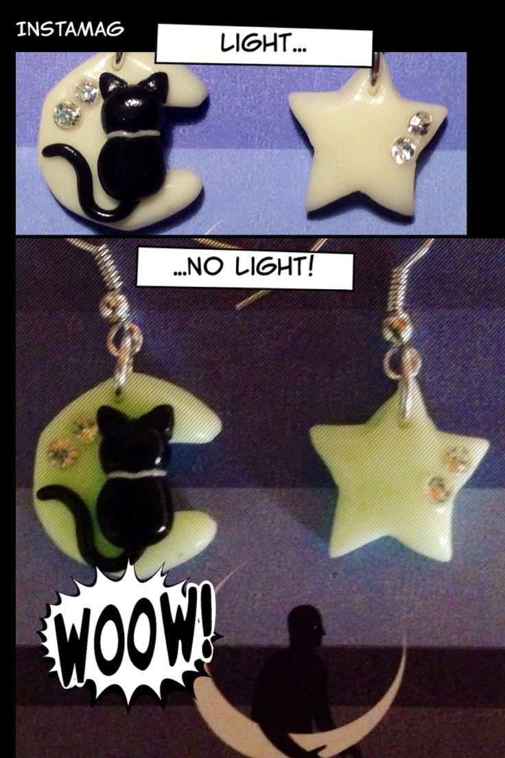 Orecchini in fimo con gatto nero su luna e stellina...con brillantini! Si illuminano al buio!!! Subito disponibili! Scrivete a criscreazionidifimo@hotmail.com o su Facebook Cris creazioni di fimo!