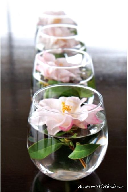Wedding centerpieces for reception tables - see more: http://weddings.usabride.com/outdoor-weddings/favorite-simple-wedding-centerpieces/