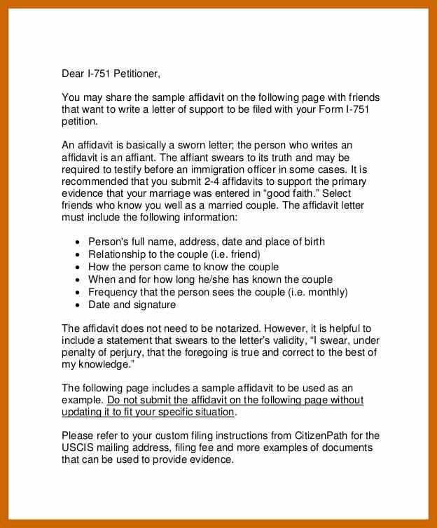 Affidavit Letter Of Support Lettering Business Letter Template Letter Sample