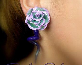Fake ear gauge  Faux gauge/Gauge earrings /spiral gauge/ fake