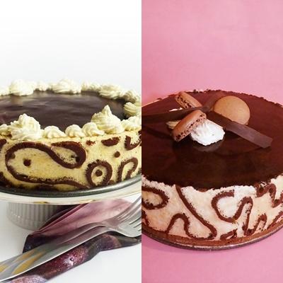 Candy's: Sárgabarackos fehércsoki-mousse és Sacher torta mintás piskótával