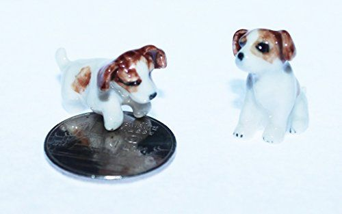 Mini Jack Russell Terrier Figurine Dollhouse Miniatures Animals Ceramic Collectible Figurine ** Check out the image by visiting the link.