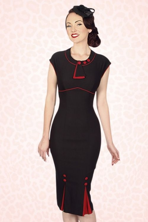 Stop Staring! - 30s Bombshell Pencil Dress in Black and Red