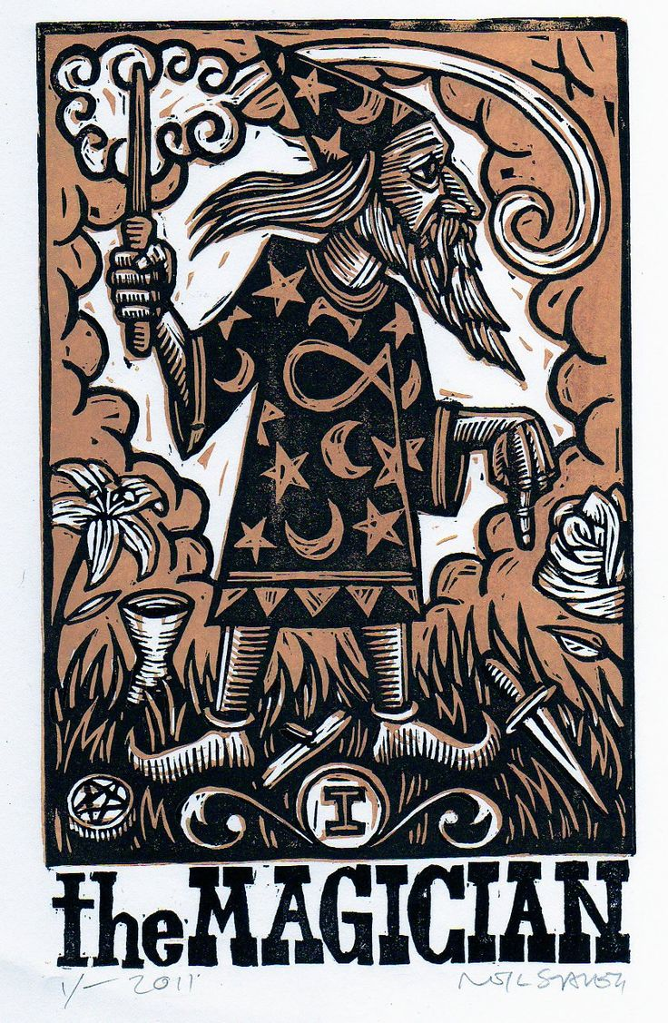 Cards on the table mathistopheles - Magician Tarot Card Linocut Print