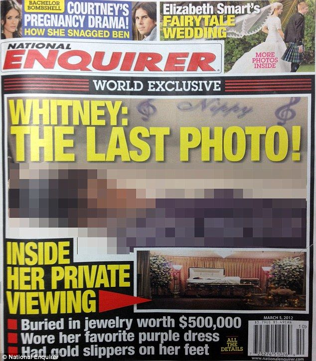 Chilling picture of Whitney Houston dead in her coffin published in National Enquirer     Read more: http://www.dailymail.co.uk/tvshowbiz/article-2104870/Whitney-Houston-dead-coffin-National-Enquirer-publishes-chilling-photo.html#ixzz1n9qTEqD9
