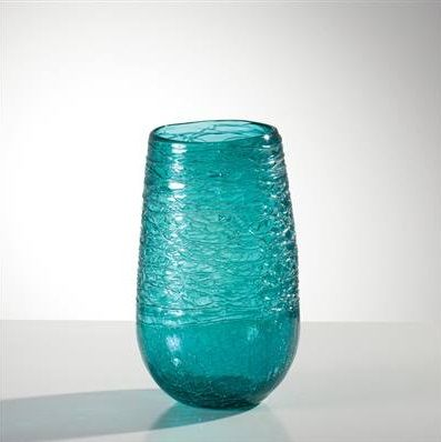 Glass Thread Turquoise Lustre Vase - Short - These wide mouth vases have fine glass threads fused to the surface which create a truly unique vase and a perfect showcase for flowers! www.lambertpaint.com
