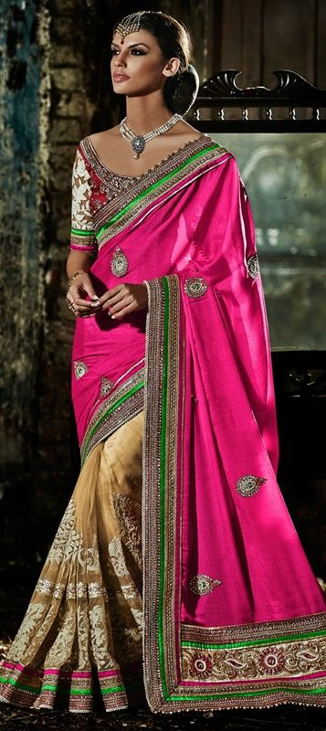Looking something for you mom? Have a look at this #saree for parties and wedding - Order now at flat 15% off. #Partywear #Wedding #colorblock #saree #indianwedding #indianfashion #lace #embroidery