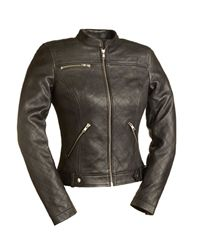 Quilted leather women's motorcycle jacket - scooter style with silver zipper detailing.