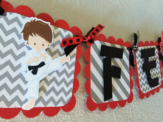 Karate  Martial Arts Birthday Party Banner by sweetheartpartyshop                                                                                                                                                                                 Más