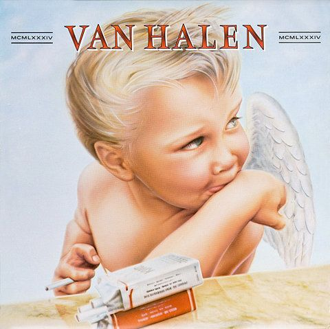 "Van Halen-1984: cover art by Margo Zafer Nahas,""The band had a somewhat nebulous idea having to do with four dancing chrome women.As Eddie and Alex Van Halen and David Lee Roth looked over my work they came across a painting I had done for a more personal project, an angel holding a cigarette. For the group, it was like love at first sight and the rest turned out to be album cover history."