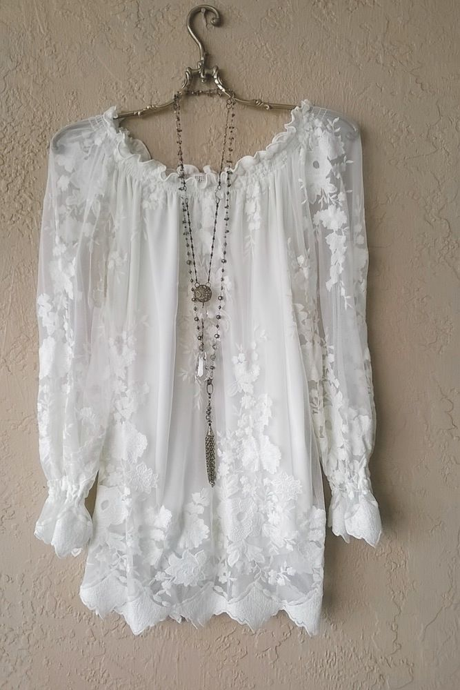 Gypsy Bohemian Lace off shoulder tunic