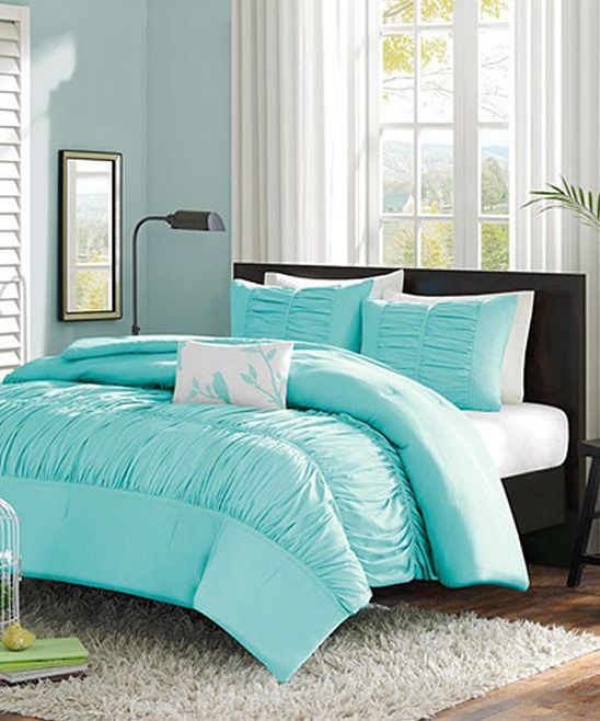 pretty light blue ruffle comforter set for my dream. Black Bedroom Furniture Sets. Home Design Ideas