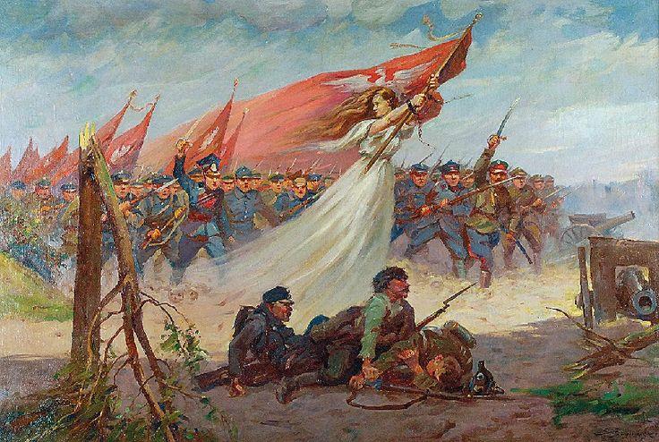 Stanisław BAGIEŃSKI (1876-1948)  Polonia prowadząca do boju, ok. 1920 olej, płótno; 63 x 94 cm;