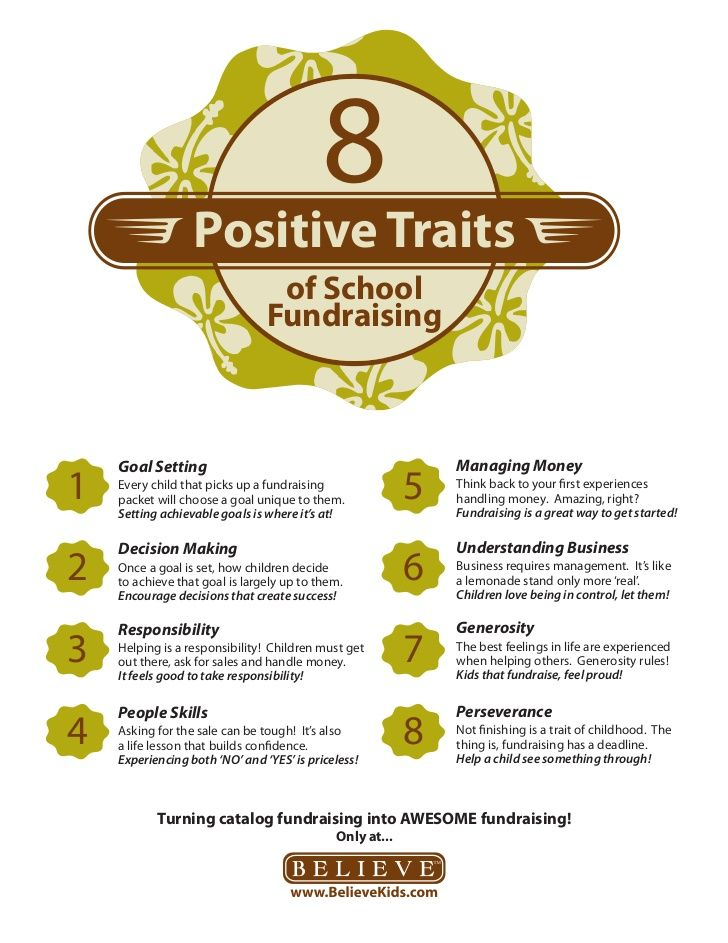 8 positive traits kids develop by helping with school fundraising! example task: selling raffle tickets