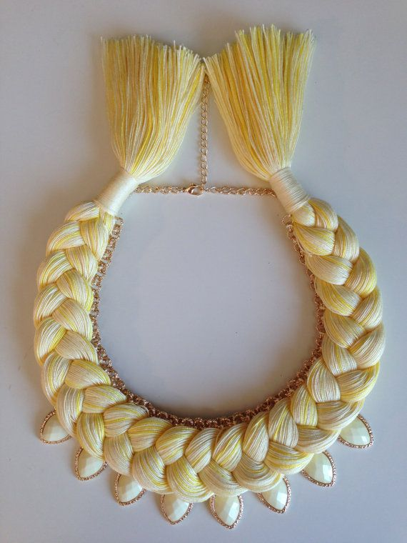 Yellow Pastel Melange Statement Bib Hand made by stukaLOVAjewelry, $30.00