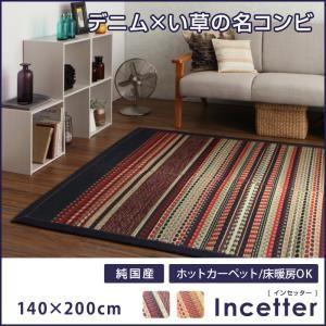 カイハラデニム×マルチパターン柄純国産い草ラグ【Incetter】インセッター140×200cm