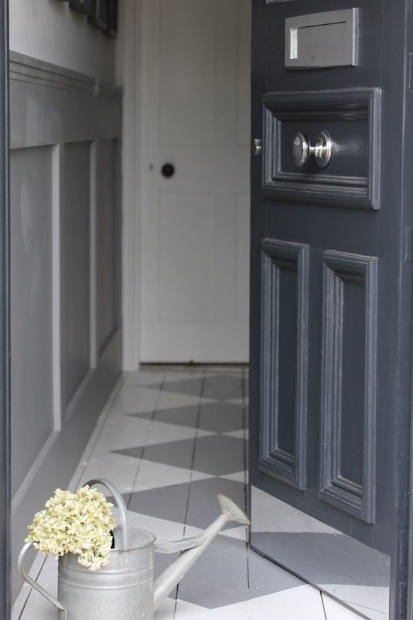 Front door in Farrow & Ball 'Railings'. www.hendycurzongardens.co.uk as featured in Ideal Home and House to Home  Open house: An Edwardian town house with a modern twist
