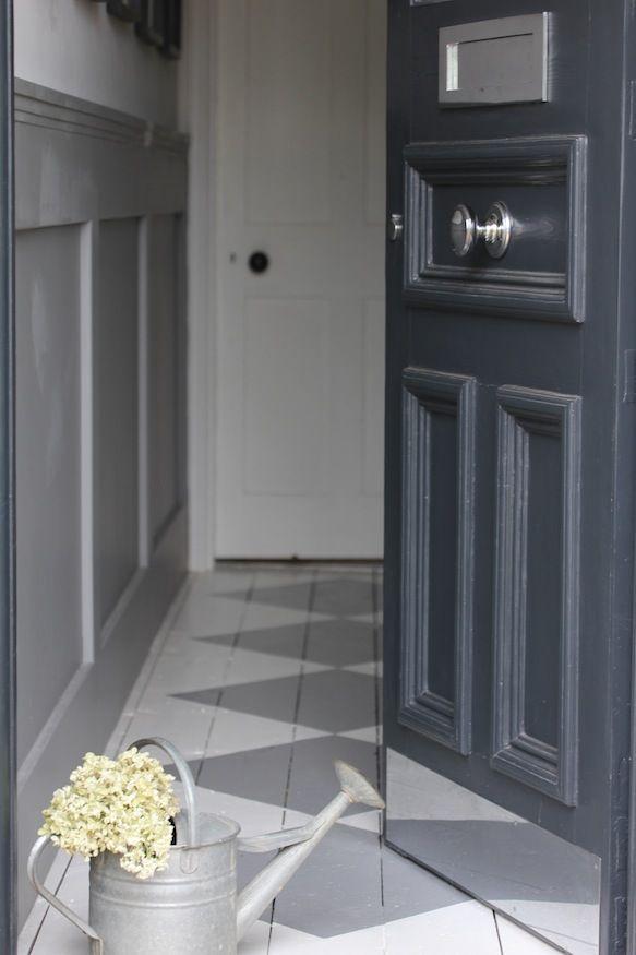 Front door in Farrow & Ball 'Railings'. www.hendycurzongardens.co.uk