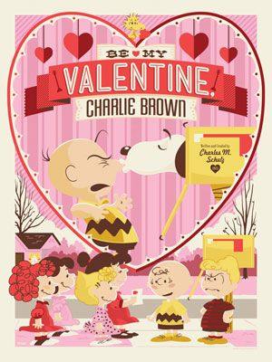 Be My Valentine, Charlie Brown officially licensed Peanuts prints by Dark Hall Mansion