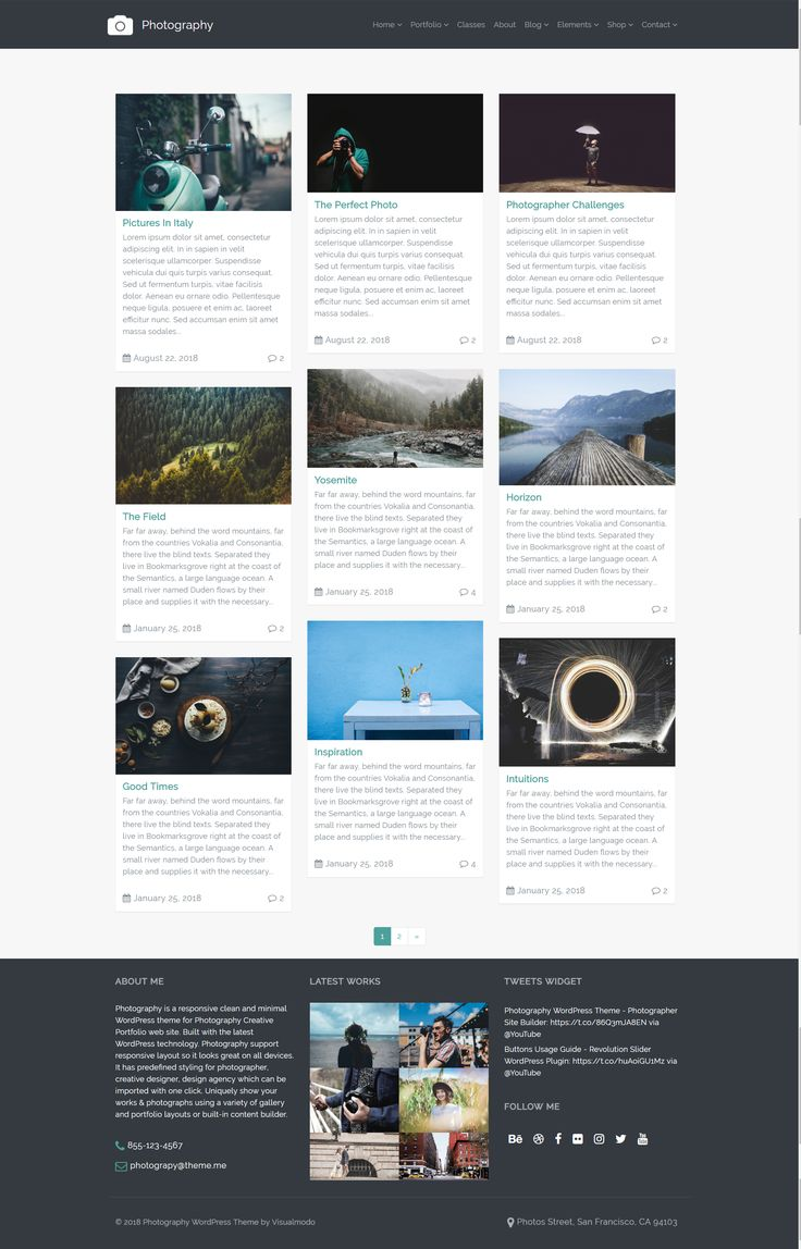 Blog Masonry Page – Photography WordPress Theme