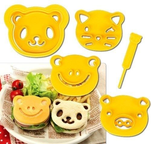 Sweet food cutters in a variety of different animal face shapes.