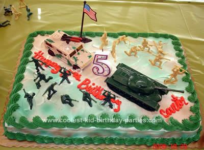 Army Birthday Cakes for Boys | GI Joe cake kit to make a camouflage cake and I supplied the army ...