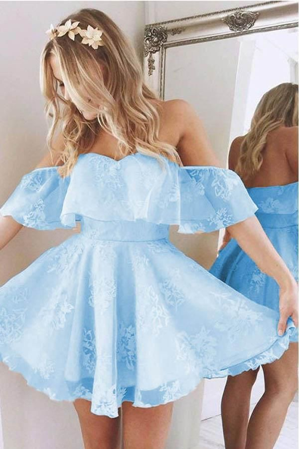 Short A Line Sweetheart Ruffles Prom Dresses,Off Shoulder Cute Lace Blue Homecom…