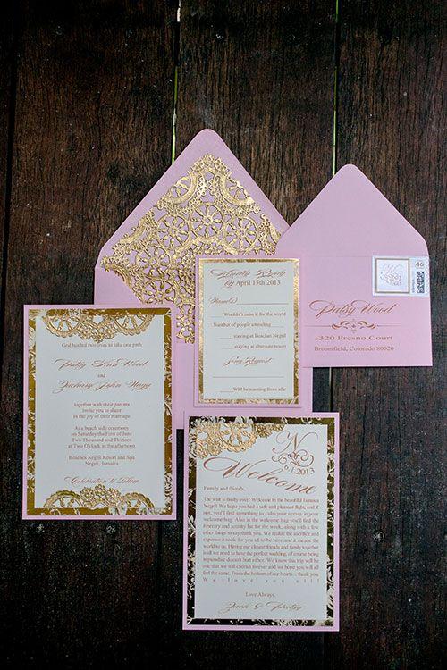 Formal, gold and pink wedding invitations   Brides.com