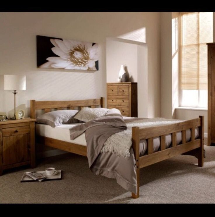 King Size 5ft Wooden Bed Frame Rustic Look - RRP £240