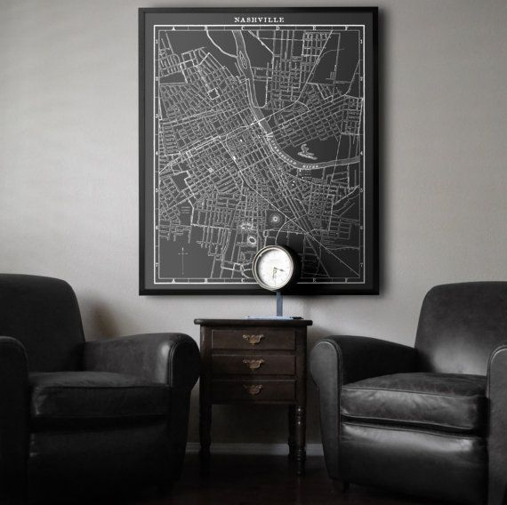 Nashville Map : Large Black and White by FirstClassDesignCo