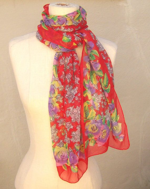Vintage red floral scarf / cabbage rose long sheer chiffon scarf by dahlilafound