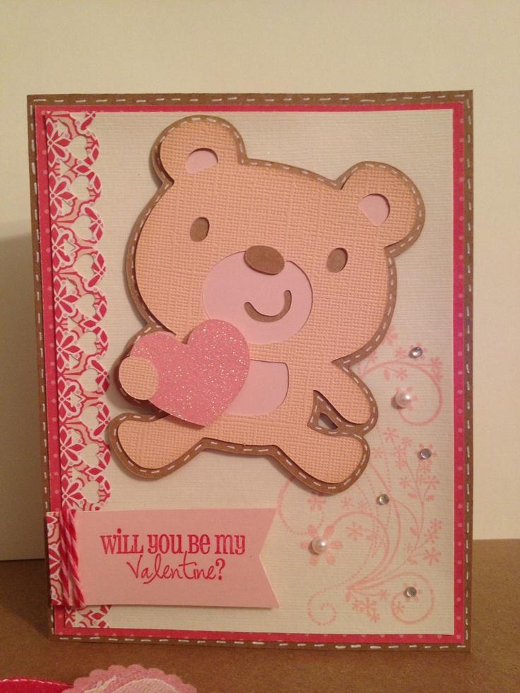Valentine card using created a critter cricut cartridge