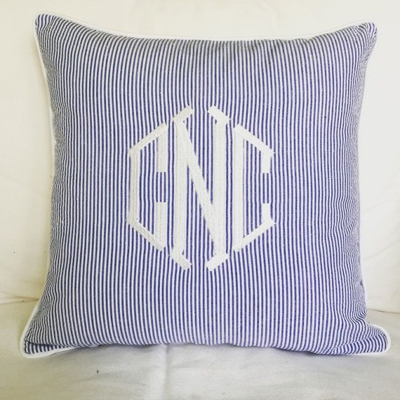 Monogrammed Seersucker Pillow by peppermintbee on Etsy - would be cute in Hank's room - maybe orange monogram?