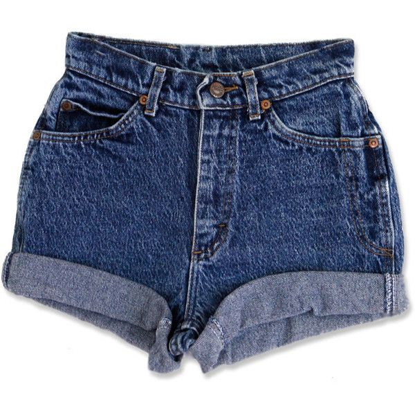 Vintage 90s Lee Dark Blue Acid Wash High Waisted Rise Cut Offs Cuffed... ($39) ❤ liked on Polyvore