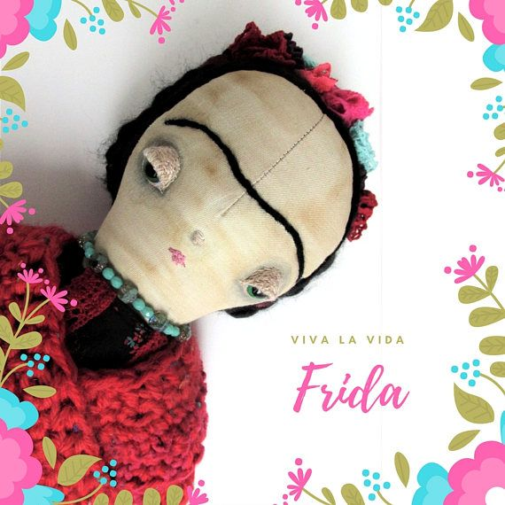 Frida Kahlo one of a kind handmade collection cloth doll
