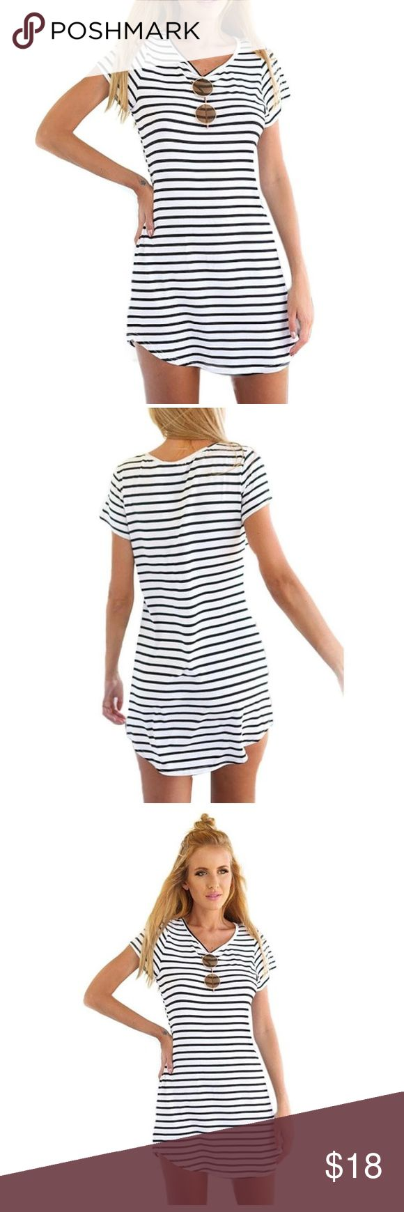 Striped T Shirt Dress New T Shirt dress. White and black striped. Size small. Feel free to ask any additional questions.    please make offers through offer button  bundle for a 20% off discount   smoke & pet free home   sorry no trades Dresses Mini