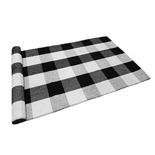 Levinis Black And White Plaid Rug 100 Cotton Porch Rugs Black White Hand Woven Checkered Door Mat 23 6 X35 4 Plaid Rug Porch Rug Layered Rugs