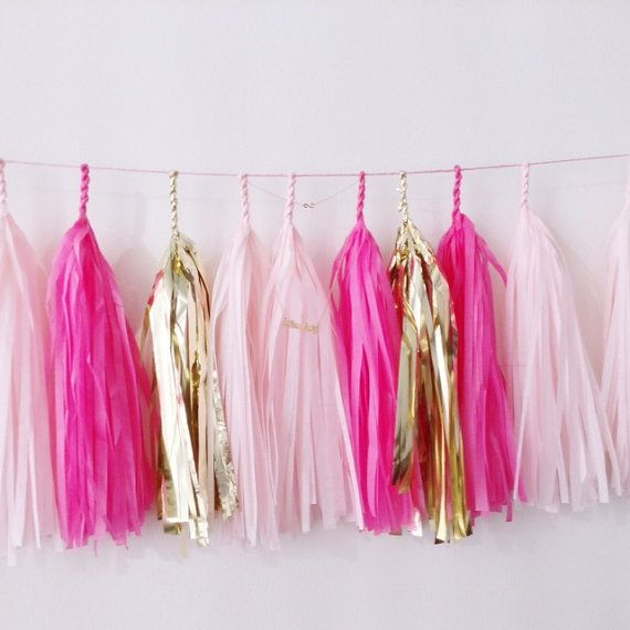 Tickled Pink Tassel Garland Blush Hot Pink and Gold by StudioMucci, $35.00