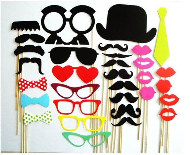 Photomaton. Étançons ensemble de 32 moustache sur un bâton photobooth drôle. masques fête de mariage cadeaux de demoiselle d'honneur de mariage décoration