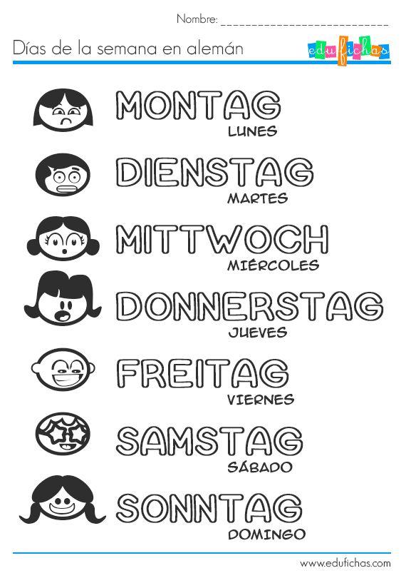días de la semana en alemán | Deutsch Andrea | Pinterest ...