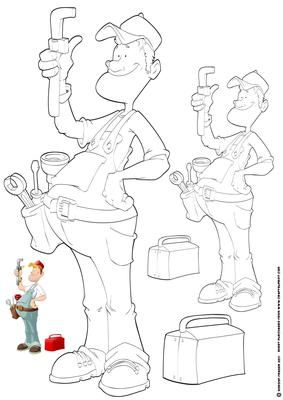 Plumber Dude Digi Stamp on Craftsuprint designed by Gordon Fraser - Plumber Dude does his best to fix the leaky tap! Digi stamp version of Plumber Dude in two sizes (can easily be resized with your own software!) Colour guide for reference. More versions of this original Dude are available! - Now available for download!