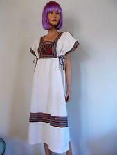 Vtg 70s Boho ethnic Dress peasant Hmong Thailand Handiwork Empire Summer Wedding
