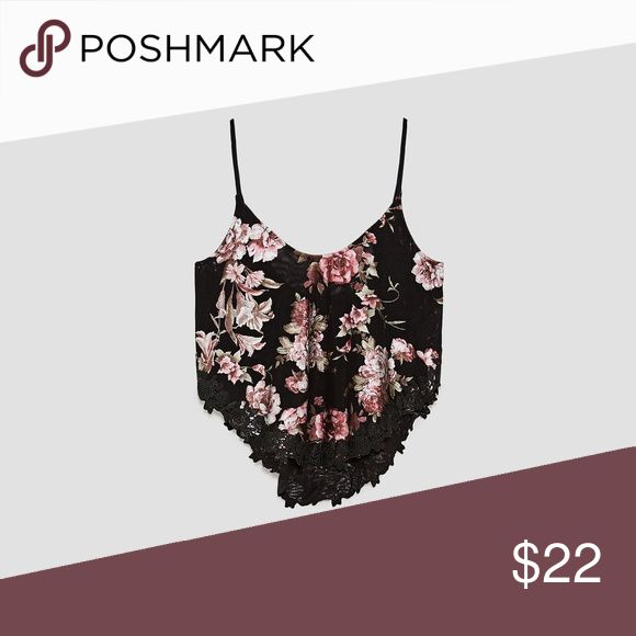 Zara Floral and Lace Top, NWT Brand new in perfect condition, with tags still attached.  Gorgeous black and floral strappy top with a lace hem. Zara Tops