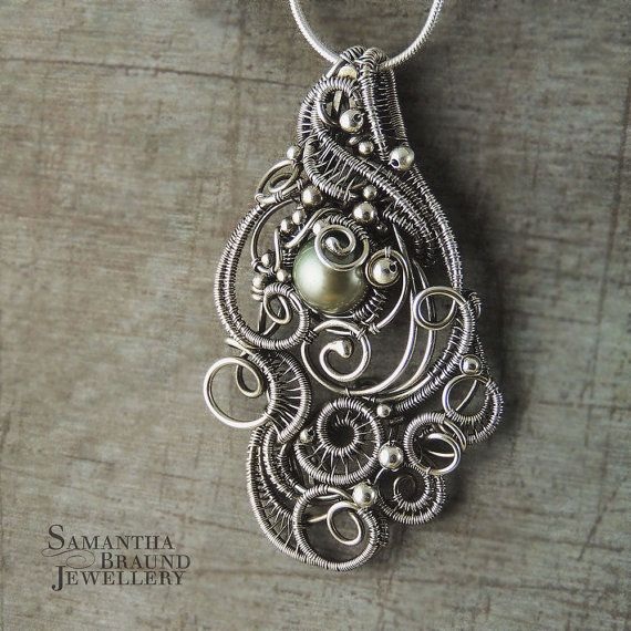 Green Freshwater Pearl Wirewrapped Sterling Silver Mermaid Amulet Cascade Necklace
