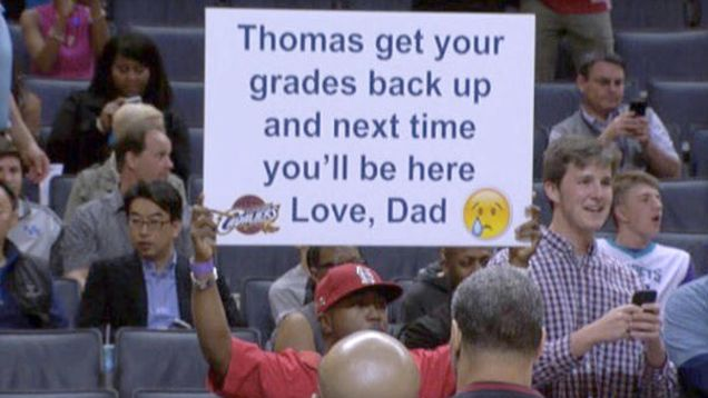 """A St. Louis dad, who only wants to be known as """"Tommy,"""" went viral recently after trolling his son at an NBA game and letting the world know the son wasn't there because his grades weren't up to par. Tommy and his 12-year-old son, Thomas, routinely attended the games together, but after Thomas transitioned from public to private school, his grades dropped."""