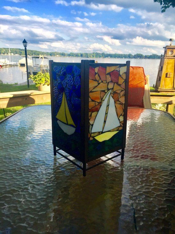 Sailboat Stained Glass Boat Candle Holder Light Box Lantern Handmade Tealight Nightlight Nautical Decor Illumination Led Bedside Lamp Bote Cristal Lamparas Art Deco Vidrio De Color