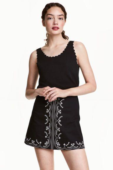 Katoenen rok met borduursel - Zwart - DAMES | H&M NL 1