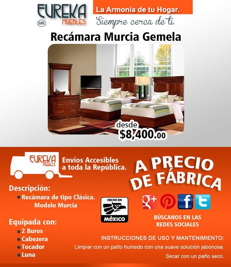 Recamara Clasica modelo Murcia. Incluye: 1 Buro, 2 Cabecera, Tocador y Luna (5pzs). http://www.eurekamuebles.com.mx/recamara-murcia-gemela.html